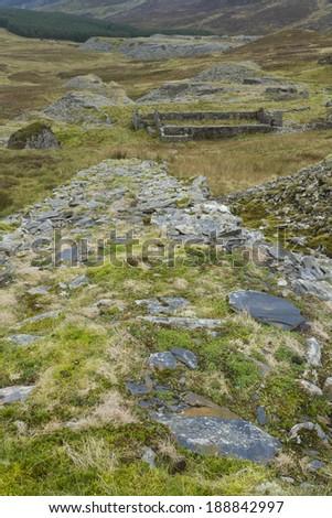 Disused exit incline for the Blaen-y-Cwm Slate Quarry, Snowdonia National Park, Gwynedd, Wales, United kingdom. #188842997