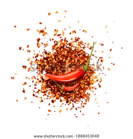 Red Chilli Pepper Flakes with Seeds Isolated Royalty-Free Stock Photo #1888453048