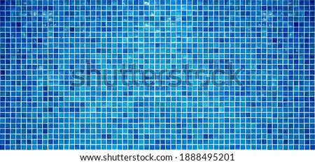 Blue tiles wall texture, background. Square small tile mosaic Royalty-Free Stock Photo #1888495201