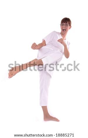 kung fu lady making barefoot kick - focus on feet #18885271