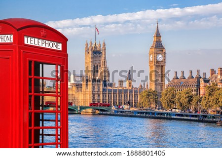 London symbols with BIG BEN, DOUBLE DECKER BUSES and Red Phone Booth in England, UK Royalty-Free Stock Photo #1888801405
