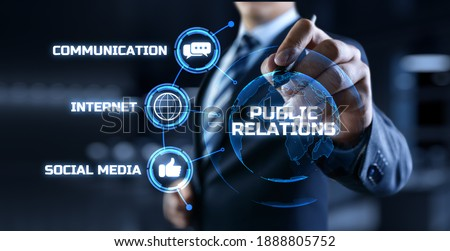 PR Public relations concept. Communication advertising marketing strategy. Royalty-Free Stock Photo #1888805752