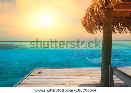 Beautiful beach with jetty at Maldives #188906564