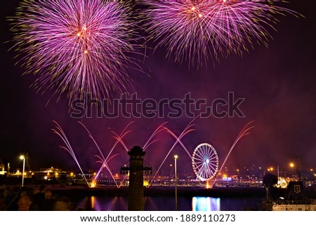 Fireworks show on the occasion of the Sea Days in Szczecin. View from Haken's terraces.   Royalty-Free Stock Photo #1889110273