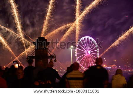 Fireworks show on the occasion of the Sea Days in Szczecin. View from Haken's terraces.   Royalty-Free Stock Photo #1889111881