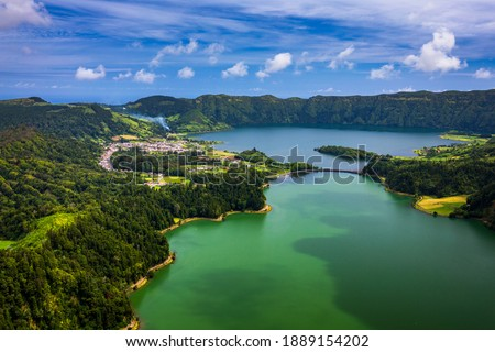 "Beautiful view of Seven Cities Lake ""Lagoa das Sete Cidades"" from Vista do Rei viewpoint in São Miguel Island, Azores, Portugal. Lagoon of the Seven Cities, Sao Miguel island, Azores, Portugal. Royalty-Free Stock Photo #1889154202"