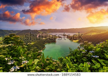"""Beautiful view of Seven Cities Lake """"Lagoa das Sete Cidades"""" from Vista do Rei viewpoint in São Miguel Island, Azores, Portugal. Lagoon of the Seven Cities, Sao Miguel island, Azores, Portugal. Royalty-Free Stock Photo #1889154583"""