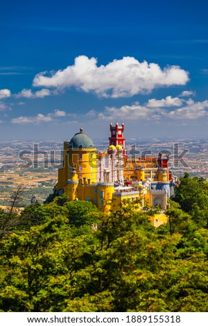 Palace of Pena in Sintra. Lisbon, Portugal. Travel Europe, holidays in Portugal. Panoramic View Of Pena Palace, Sintra, Portugal. Pena National Palace, Sintra, Portugal.  Royalty-Free Stock Photo #1889155318