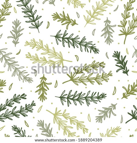Seamless Pattern with Fresh Green Rosemary Herb Branch Vector Illustration can be used for Background and Apparel Design Royalty-Free Stock Photo #1889204389