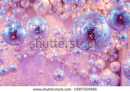 Purple and Pink cluster of Mirrorballs Royalty-Free Stock Photo #1889304886
