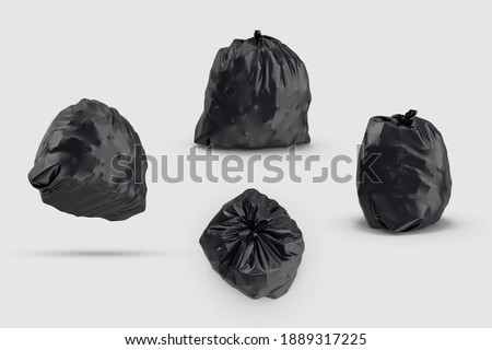 black full Recycling Garbage Bag rubbish trashbag isolated white background 3d illustration different angles top side perspective view realistic render clipping mask