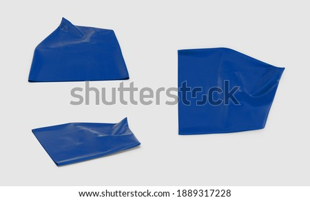 eco blue empty flat Recycling Garbage Bag rubbish trashbag isolated white background 3d illustration different angles top side perspective view realistic render clipping mask