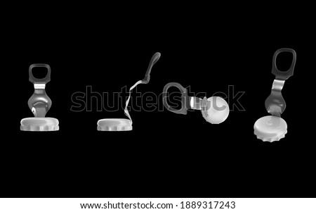 aluminium Ring pull tap glass drink bottle cap open after opening plastic isolated black background 3d illustration different angles top side perspective view realistic render clipping mask