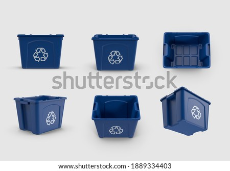 empty blue recycle bin recycling symbol container icon basket isolated white background 3d illustration different angles top side perspective view realistic render clipping mask