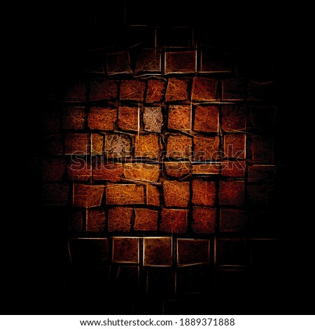 Vintage red and golden digital brick pattern. Background and texture #1889371888