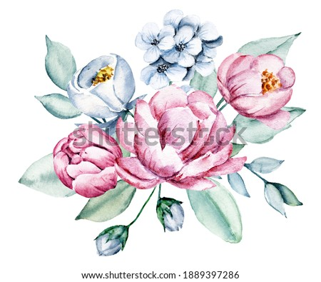 Blue and pink flowers watercolor, floral clip art. Bouquet peonies perfectly for printing design on invitations, cards, wall art and other. Arrangement isolated on white background. Hand painting.