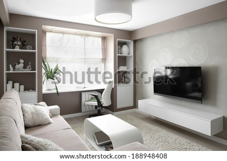 big and bright interior of modern living room #188948408