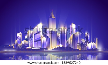 Night shining metropolis on clean sky background with reflection in the water surface. Royalty-Free Stock Photo #1889527240