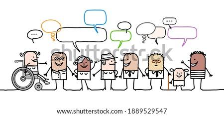 Hand drawn Cartoon mixed diversity people and social network Royalty-Free Stock Photo #1889529547
