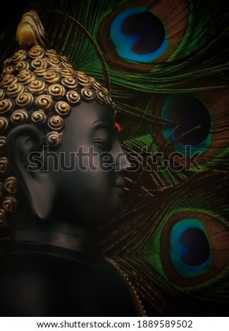 laughing buddha idol with peacock feather in the background. beautiful background image of buddha in calm meditated state.peaceful and relaxing background for meditation.calm and peaceful backdrop.