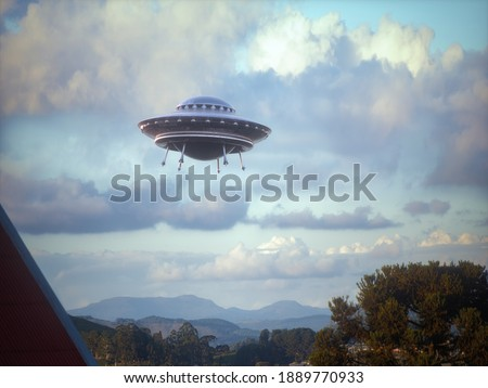 UFO. Clipping path included. 3D illustration.