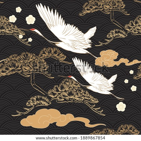 Japanese seamless pattern with crane birds elements vector. Asian background with oriental decoration such as hand drawn bonsai tree and cherry blossom flower icon in vintage style. Royalty-Free Stock Photo #1889867854