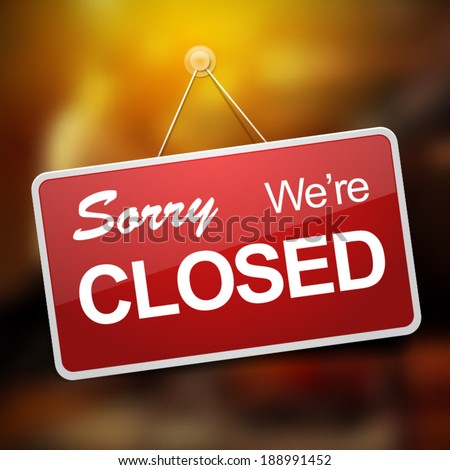 We're closed red sign on blurred glass vector illustration #188991452