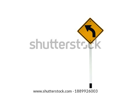 Traffic sign: warning sign on the left curve means the way ahead is a left curve. Clipping paths.