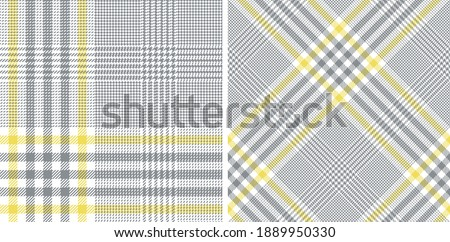 Glen pattern set in ultimate grey and illuminating yellow for dress, skirt, jacket, trousers, blanket, duvet cover, throw, or other modern spring summer fashion textile print. Royalty-Free Stock Photo #1889950330
