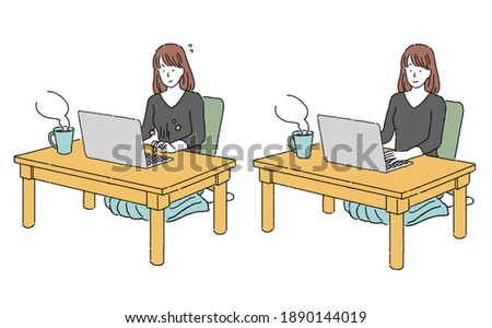Clip art of a person working remotely on a computer