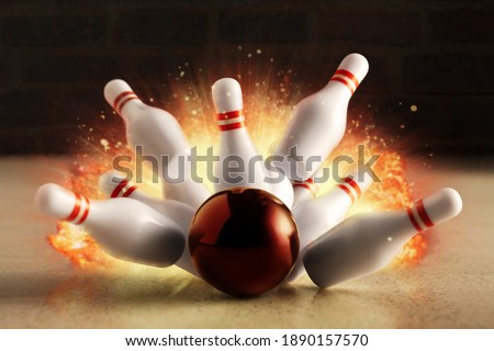 Bowling strike hit with fire explosion. Minimal concept of success and win. Royalty-Free Stock Photo #1890157570