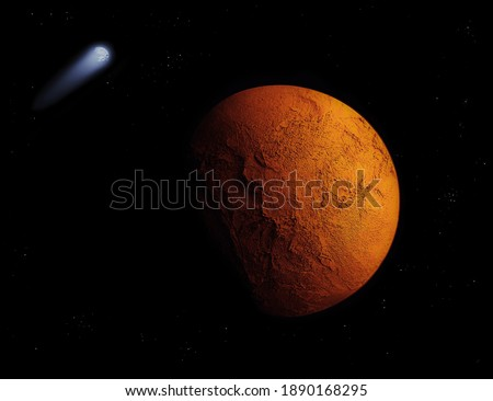 Red planet, covered with mountains and canyons in space with comet and stars. Royalty-Free Stock Photo #1890168295