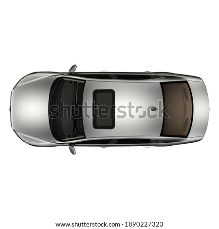 isolated simple  and modern metallic sedan car from top view on white background that easily removable. Royalty-Free Stock Photo #1890227323