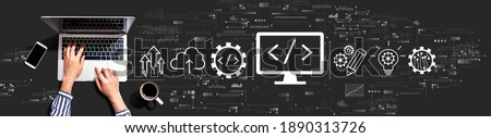 Web development concept with person using a laptop computer Royalty-Free Stock Photo #1890313726