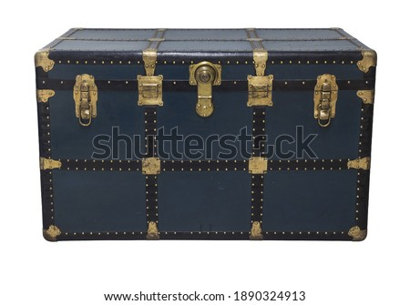 Antique Blue Tin Travel Trunk Steamer Chest Tin Chest Trunk closed isolated on white background Royalty-Free Stock Photo #1890324913