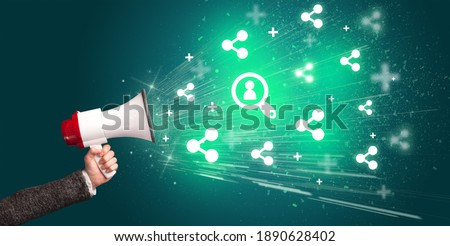 Young person yellin in loudspeaker with lookup icon, social networking concept