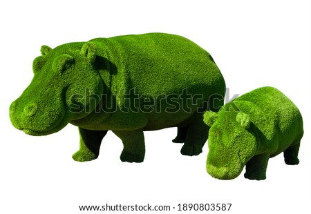 Hippos mom and cub. Topiary. Hippos made of artificial grass isolated on white background. Landscaping. Royalty-Free Stock Photo #1890803587