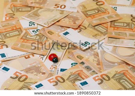 red ladybug on background of banknotes #1890850372