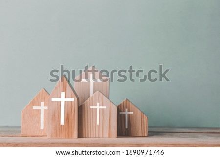 Village of church for catholics , community of Christ , Concept of hope , christianity  faith  religion and church online Royalty-Free Stock Photo #1890971746