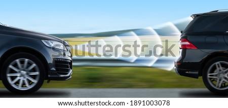 Car with adaptive cruise control radar Royalty-Free Stock Photo #1891003078
