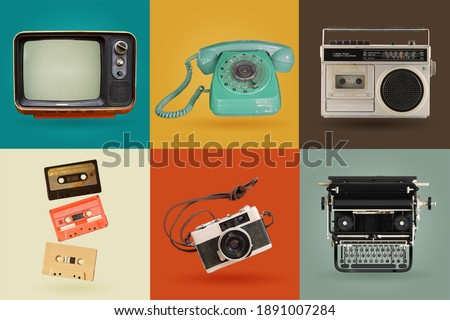 Retro electronics set. Nostalgic collectibles from the past 1980s - 1990s. objects isolated on retro color palette with clipping path. Royalty-Free Stock Photo #1891007284
