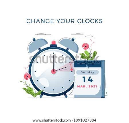 Daylight Saving Time begins concept. The clocks moves forward one hour. Calendar with marked date, text Change your clocks. DST begins in USA for banner, web, emailing. Flat design vector illustration Royalty-Free Stock Photo #1891027384
