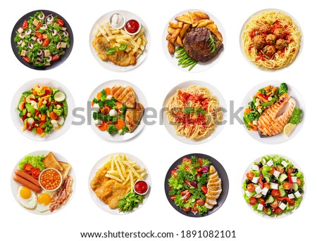 set of various plates of food isolated on a white background, top view Royalty-Free Stock Photo #1891082101