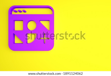Purple Different files icon isolated on yellow background. Minimalism concept. 3d illustration 3D render.