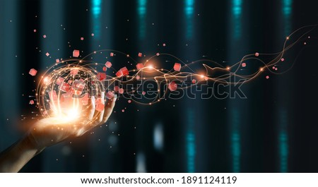 Hand holding of global data network, Big data visualization of futuristic and block chain, Financial analysis, social network of databases, Abstract creativity. Royalty-Free Stock Photo #1891124119
