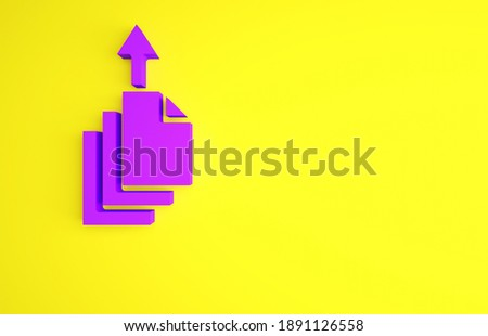 Purple Data export icon isolated on yellow background. Minimalism concept. 3d illustration 3D render.