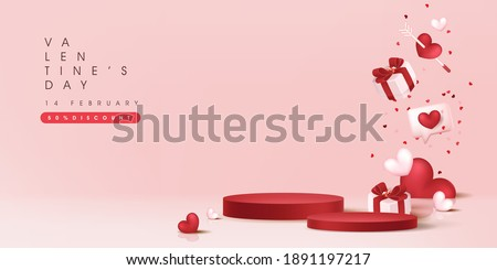 Valentine's day sale banner background with with product display cylindrical shape.  Royalty-Free Stock Photo #1891197217