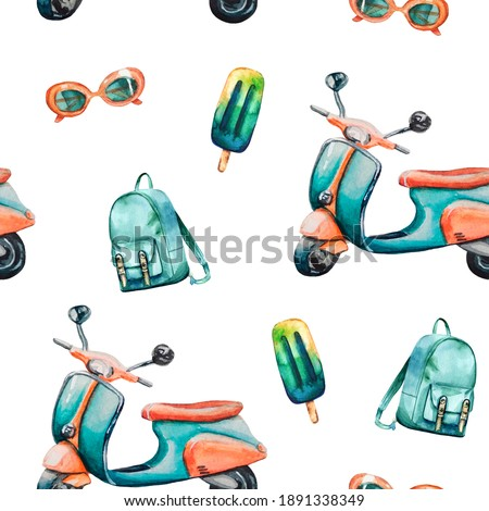 Watercolor hand painted seamless pattern with turquoise vintage scooter, backpack, ice cream and orange sunglasses on white background. Perfect for fabric, wrapping paper or scrapbooking.