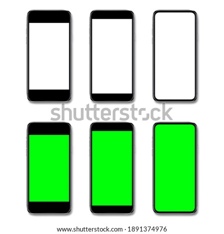 Smartphone, mobile phone isolated with blank screen and Mobile phone mockup with green screen, Images for graphics work, advertising editing - clipping path