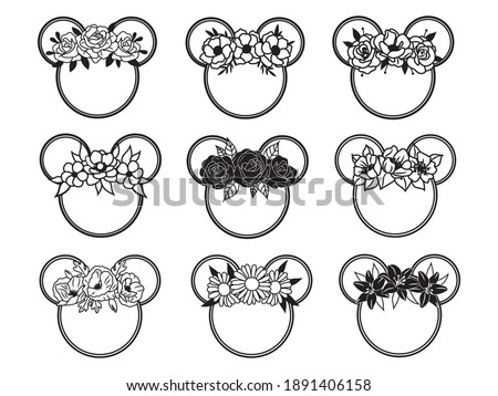 Set of flower mouse head. Collection of portrait mouse with flower headband. Floral cartoon animal. Vector illustration of white background. Tattoo.
